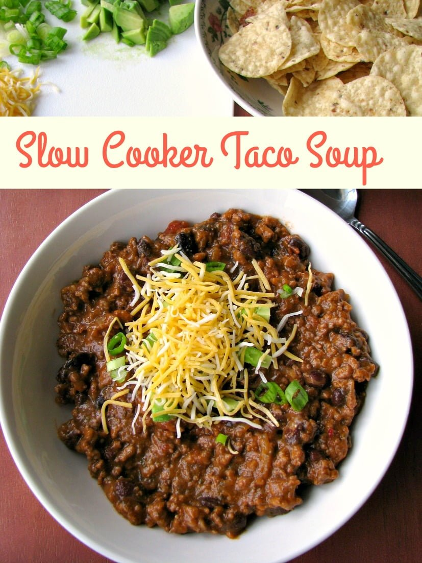 Delicious slow cooker Taco Soup is everything you love about tacos in soup form! Filled with ground beef, salsa, black beans, and taco seasoning, it is a hearty and warming soup that can be made in the slow cooker or on the stove.