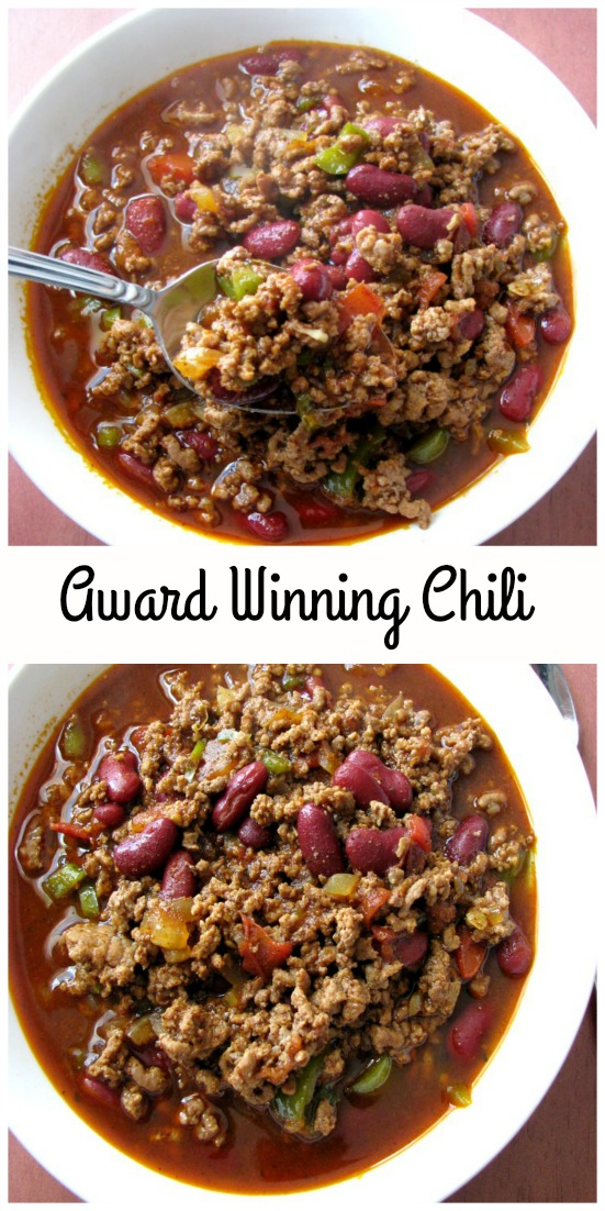 Collage photo of Award Winning Chili showing two white bowls of chili on a wood table