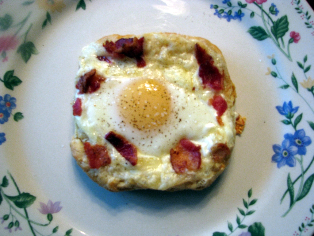 The Best Egg I Ever Ate- Cheesy egg topped with bacon, then baked in a puff pastry. Makes a great brunch, Mother's Day, or weekend breakfast dish!
