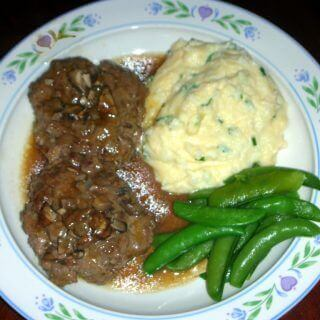 Salisbury Steak and Cheesy Garlic and Herb Mashed Potatoes