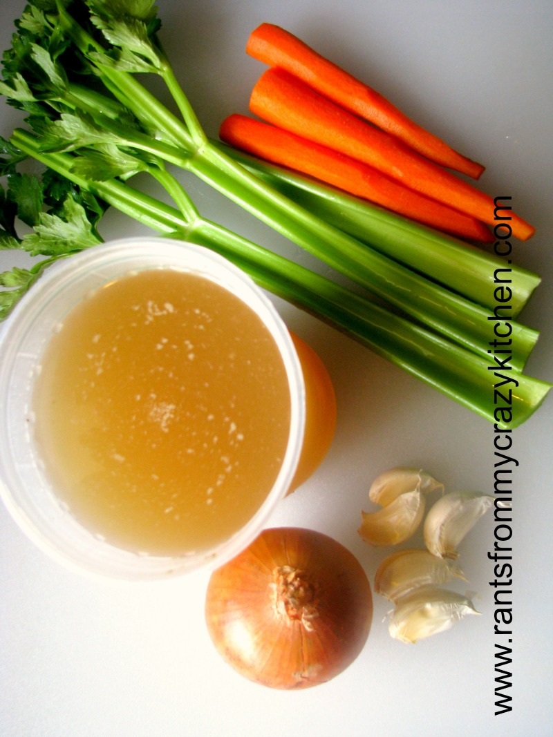 Flavorful homemade Roasted Chicken Broth, lower in sodium than store-bought. Made with freshly roasted bones, carrots, celery, onions, garlic, and fresh herbs, homemade broth is easy to make and great to freeze for use anytime!