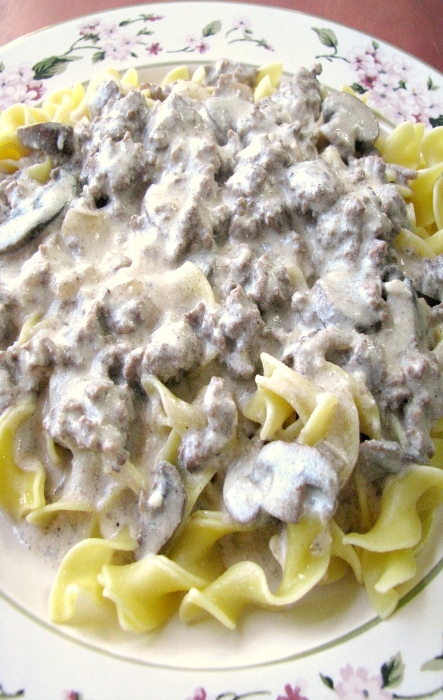 Close up image of Easy Beef Stroganoff with egg noodles on a white flowered plate