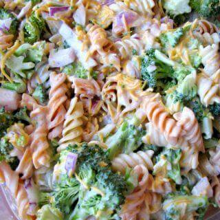 Close up photo of Broccoli Cheddar Pasta Salad