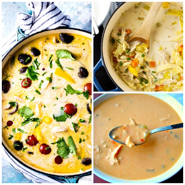 Collage photo of three bowls of different kinds of chicken soup.