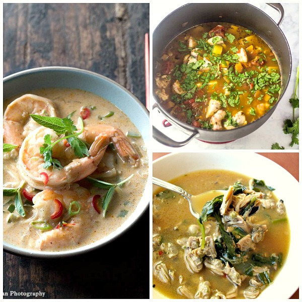 Collage photo of three kinds of seafood soups