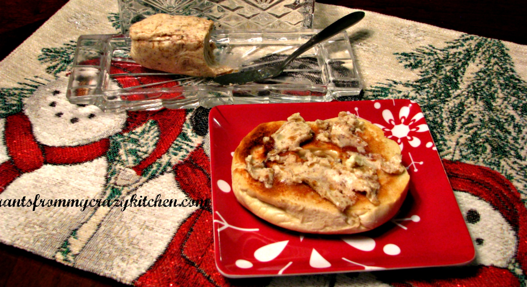 Caramelized Onion and Gingerbread Spice Butter on a Bagel