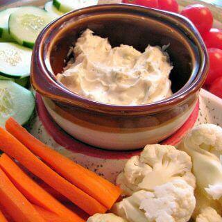 Garlicky White Cheddar and Dill Veggie Dip