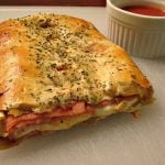 Easy Ham and Cheese Stromboli made with crescent roll dough.