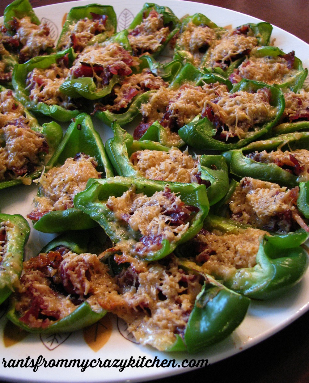 Sweet bell peppers stuffed with a simple mixture of bacon and Gouda cheese. Great for the mild-loving crowd, or add a pinch of cayenne for heat!