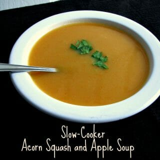 Slow-Cooker Acorn Squash and Apple Soup for #SundaySupper