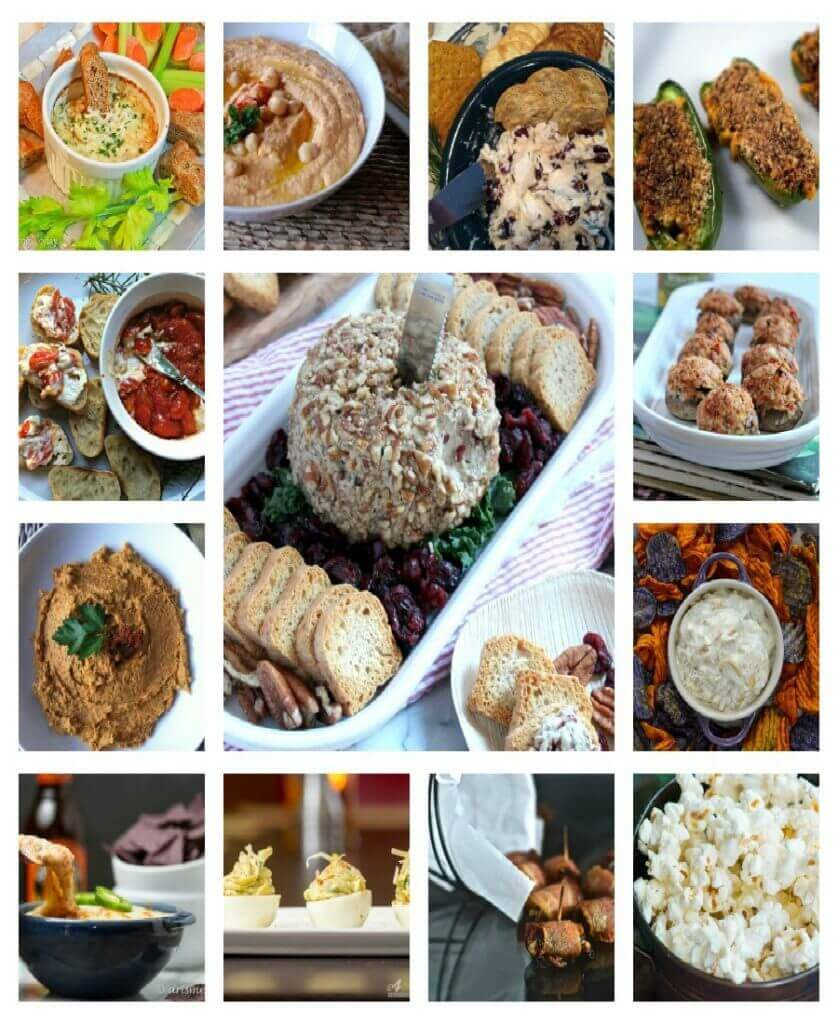 Collage photo of a group of New Year's Eve party appetizers.