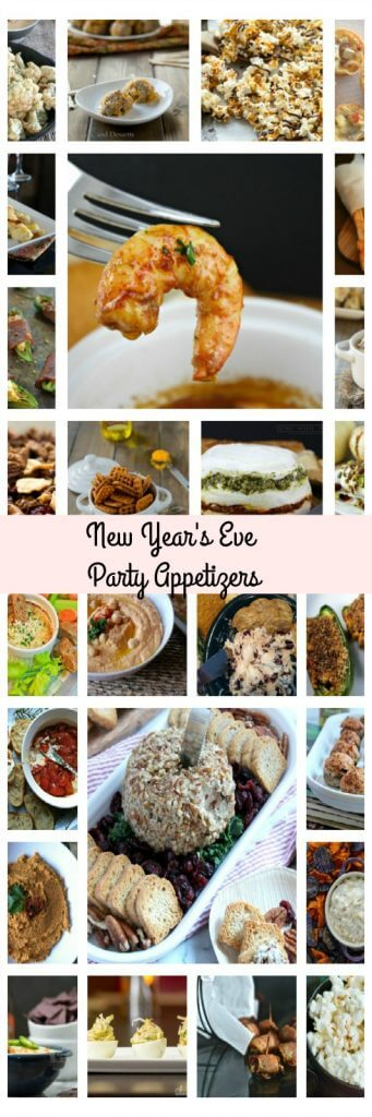 long collage photo of New Year's party appetizers