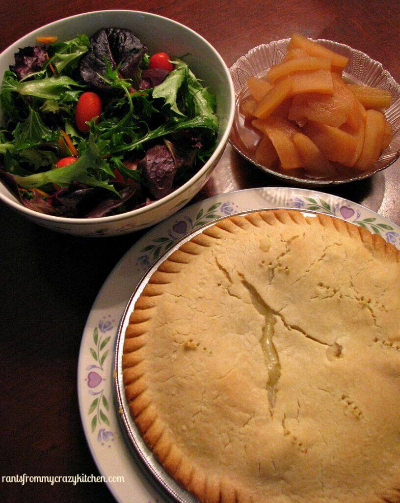 Complete Meal with Marie Callender Pot Pie and slow cooker cinnamon apples