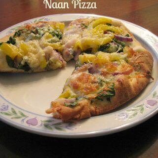 Naan Pizza with Arugula Pepper and Onion