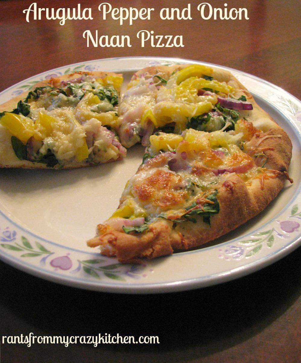 Arugula Pepper and Onion Nann Pizza