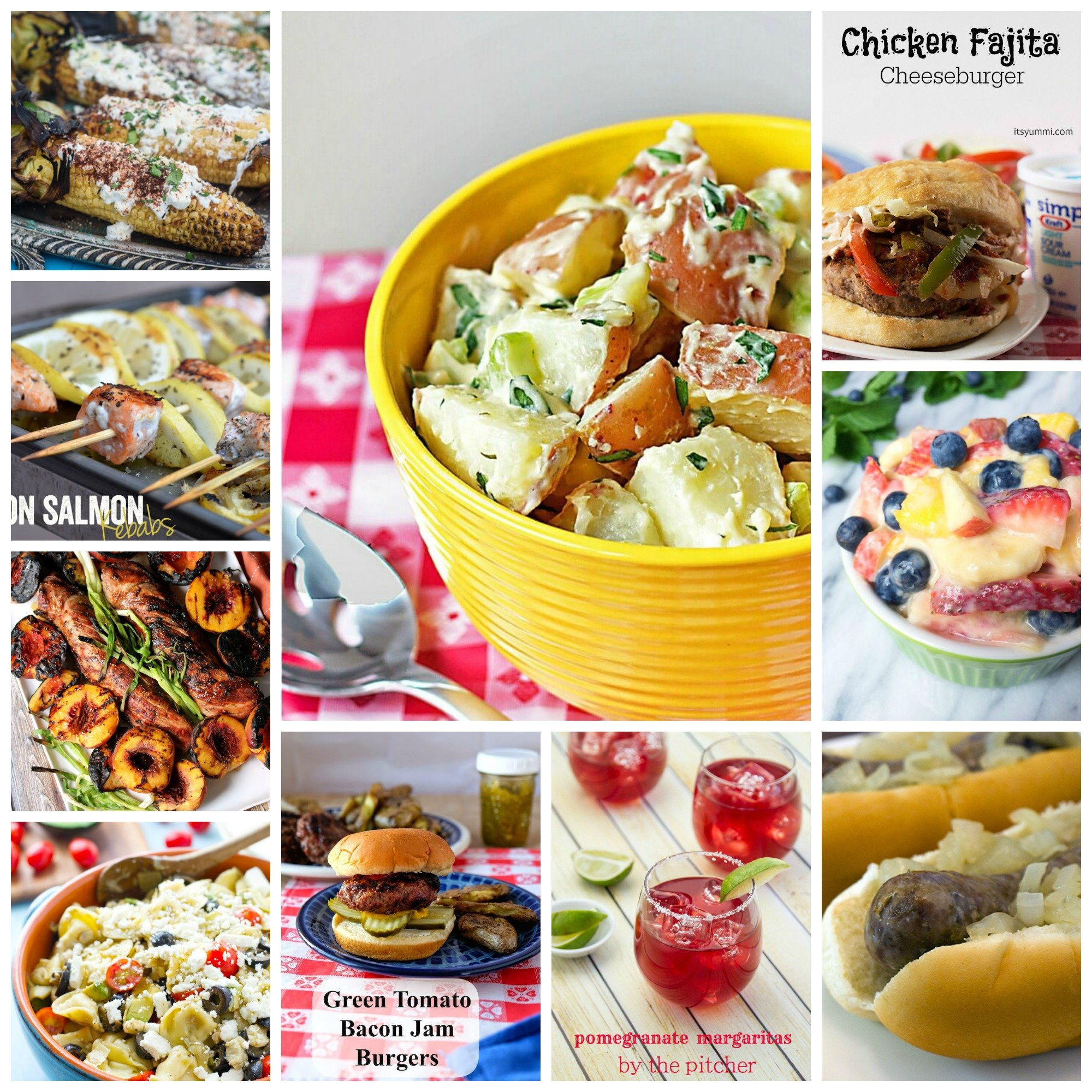 Cookout Recipes to Enjoy This Summer- Burgers, potato salad, grilled corn, and a pitcher of margaritas. Enjoy the summer with these great recipes!