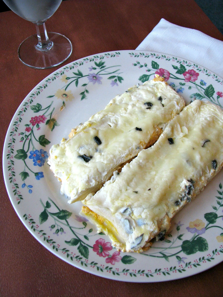 Ricotta and Pumpkin filled manicotti in a creamy sage and garlic sauce.