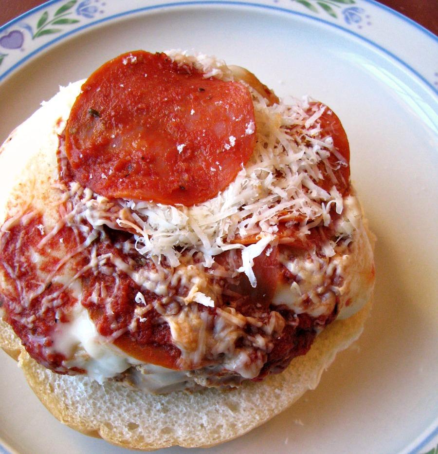 Turkey Pepperoni Pizza Burgers