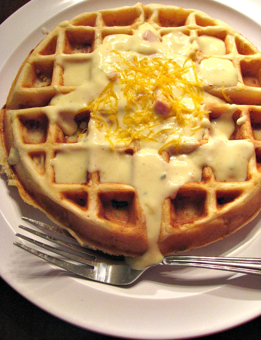 Savory Ham Cheese and Sage Waffles with Creamy Ham Mustard Gravy