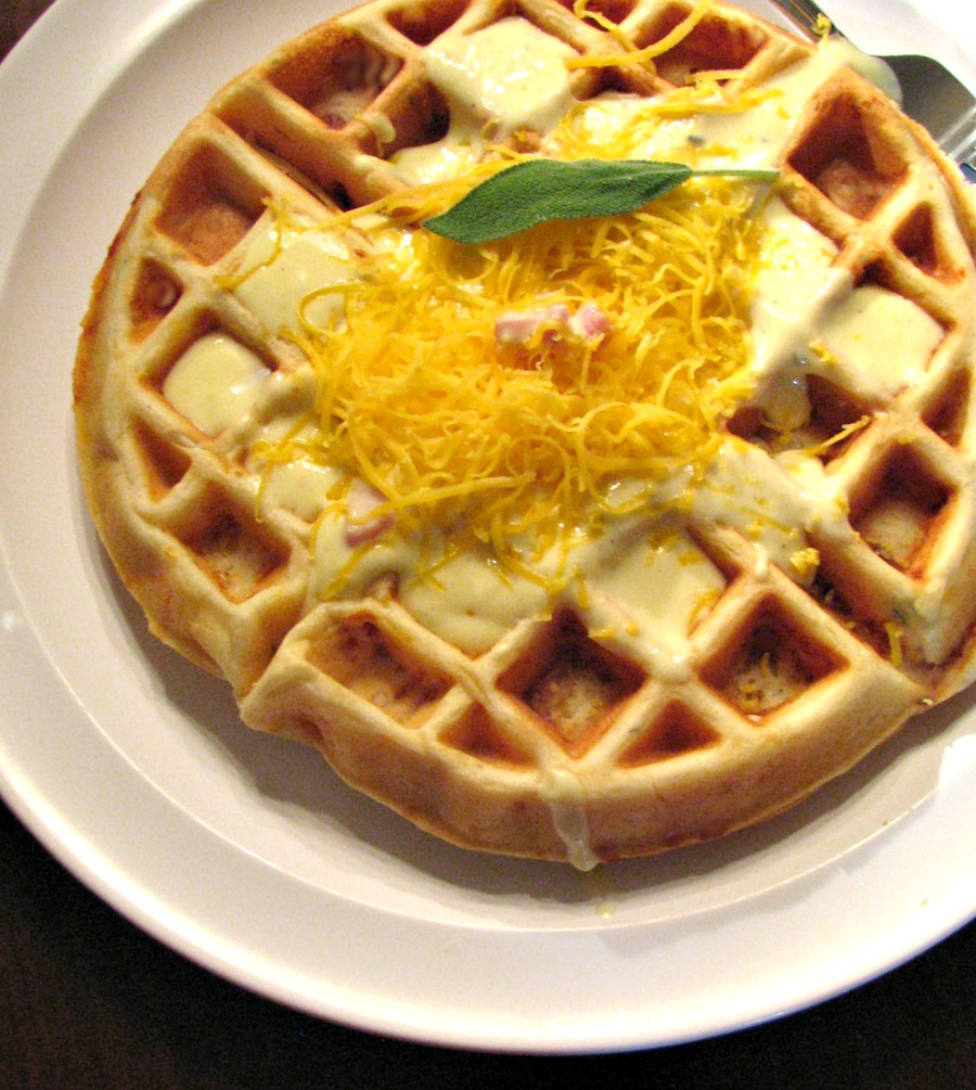 Savory Ham, Cheese and Sage Waffles