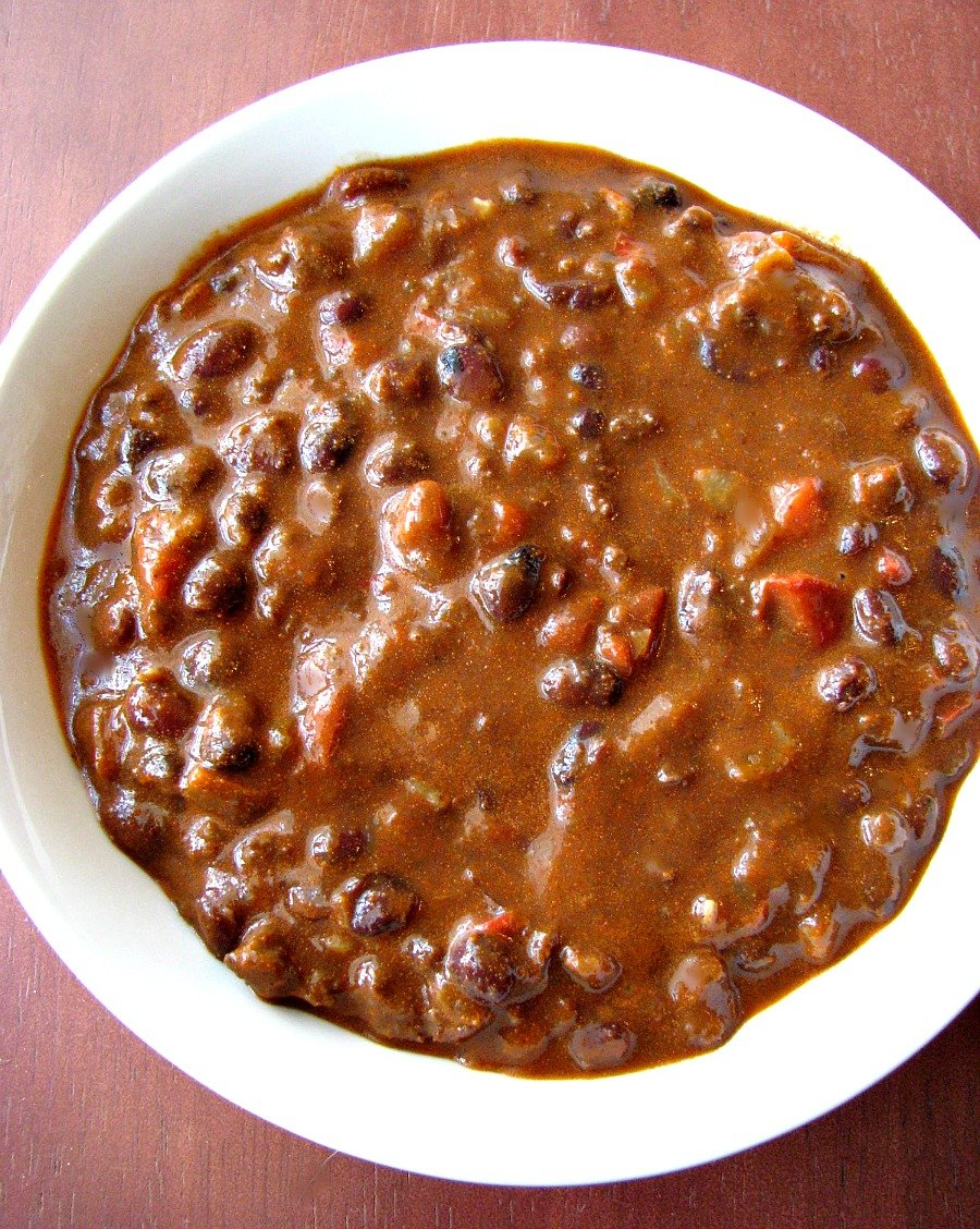 phoro of Chorizo and Black Bean Chili in a white bowl
