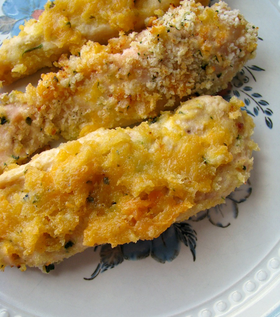 Cheesy Baked Garlic Chicken Strips