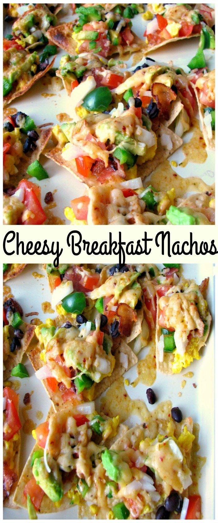These Cheesy Breakfast Nachos are topped with scrambled eggs, bacon, tomatoes, bell peppers, onions, chipotle cheddar, and black beans. Great for brunch, or a party!