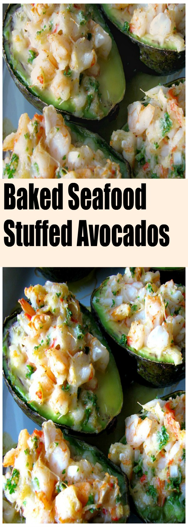 Crab and shrimp filled Baked Seafood Stuffed Avocados make an extraordinary Sunday or special occasion brunch entree, or appetizer before a special meal.