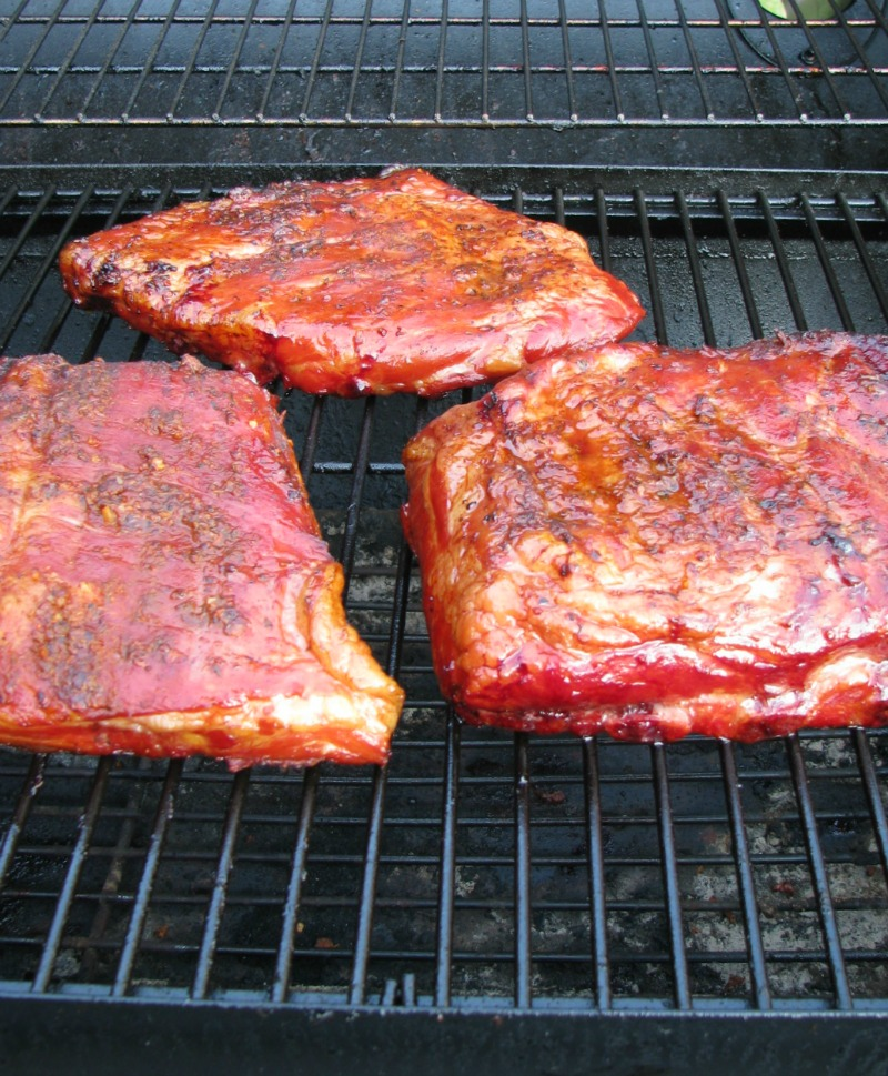 Cajun Blueberry BBQ Ribs on the grill.
