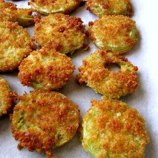 Photo of Crispy Fried Green Tomatoes on white parchment paper