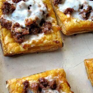 Cheesy Mexican Chorizo Puff Pastry Tarts
