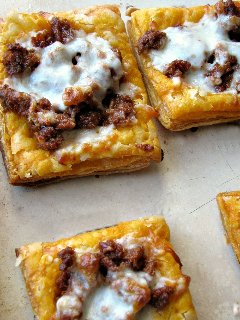 Cheesy Chorizo Puff Pastry Tarts are a spicy, cheesy, flaky appetizer everyone will love!