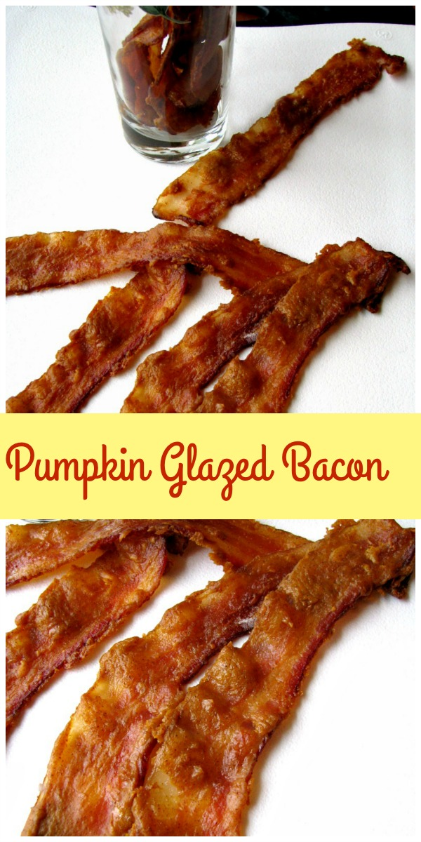 This seasonal Pumpkin Glazed Bacon is fabulous in a variety of dishes, or on it's own, and you only need 4 ingredients! It tastes like candied bacon, with a pumpkin kick!