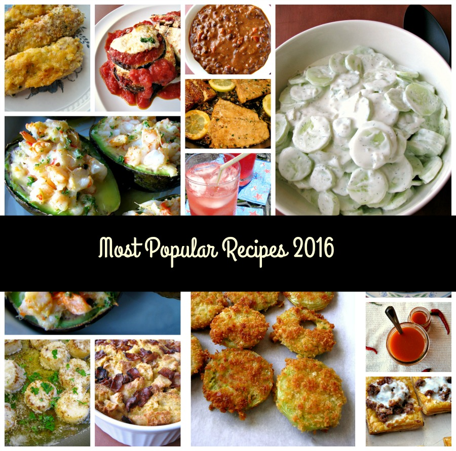 Most Popular Recipes 2016- There is something for everyone here, from salads to dinners, appetizers to drinks, and more, separated into Spring recipes, Summer recipes, Fall recipes, and Winter recipes.