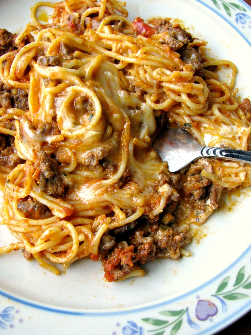 This Leftover Spaghetti Casserole comes together quickly and easily,