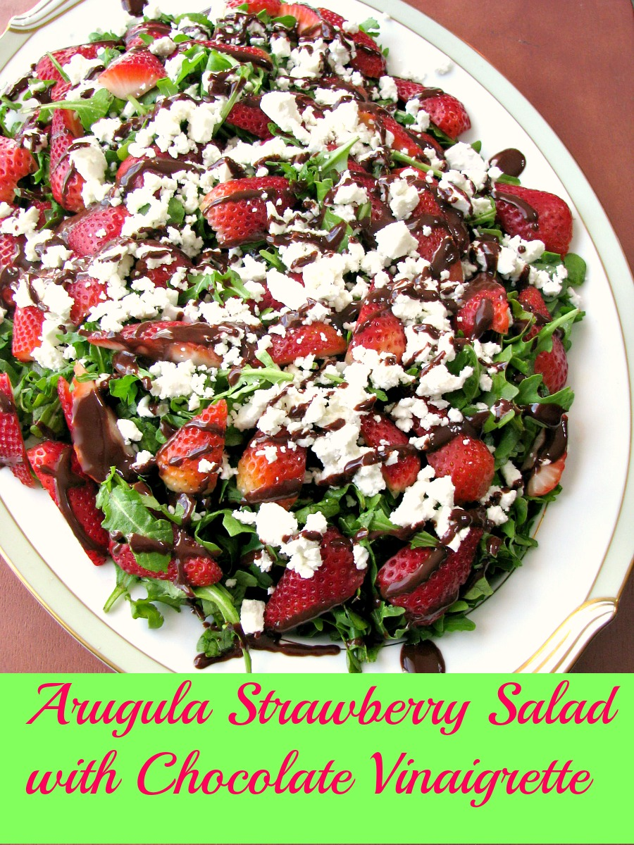 With crisp arugula, sweet strawberries, crumbled goat cheese, and a homemade chocolate balsamic vinaigrette, Arugula Strawberry Salad with Chocolate Vinaigrette is perfect for Easter.