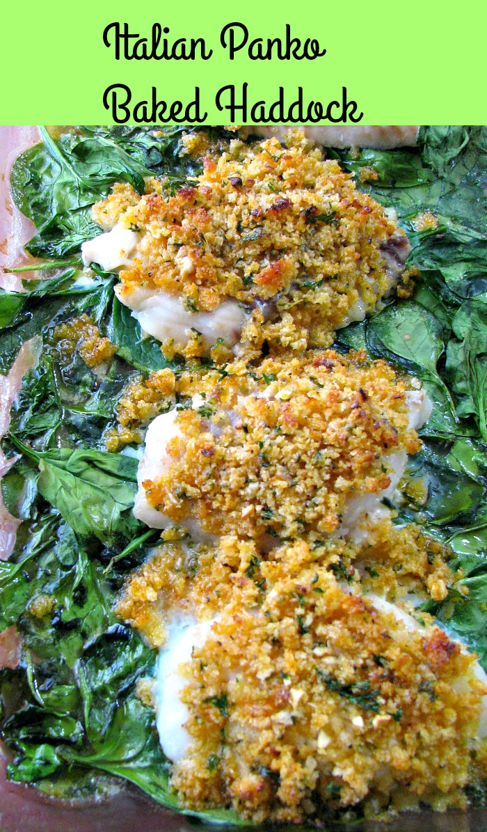 Italian Panko Baked Haddock made with buttery, seasoned, crispy panko breadcrumbs, baked on a bed of spinach and served with rice. Ready to eat in 30 minutes!