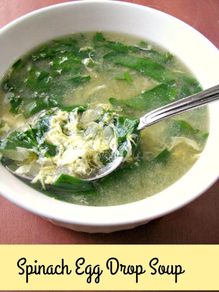 A slight twist from traditional egg drop soup, this Spinach Egg Drop Soup is light, healthy, and perfect for one or two people.
