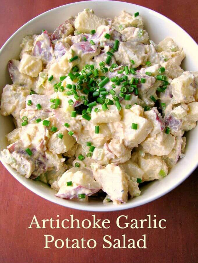 Creamy, tangy, Artichoke Garlic Potato Salad made quickly and easily with just a few ingredients. This potato salad is flavorful but not overpowering!