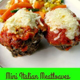 Mini Italian Meatloaves, ground beef filled with shredded zucchini and mozzarella cheese, topped with your favorite marinara sauce and more cheese, is a simple weeknight dinner.
