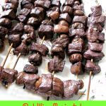 These easy to make Red Wine Marinated Beef Mushroom Kabobs, made with sirloin strip steak, baby portabella mushrooms, and Pinot Noir are great for summer cookouts, weeknights, or weekends.
