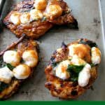 Grilled Sweet Caprese Chicken is made with chicken breasts marinated in a sweet cherry tomato sauce, grilled and topped with basil and mozzarella cheese.