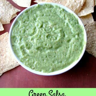 Smooth, spicy Green Salsa (Avocado Tomatillo Salsa) makes a great topping for tacos or chicken, or as a dip for tortilla chips.