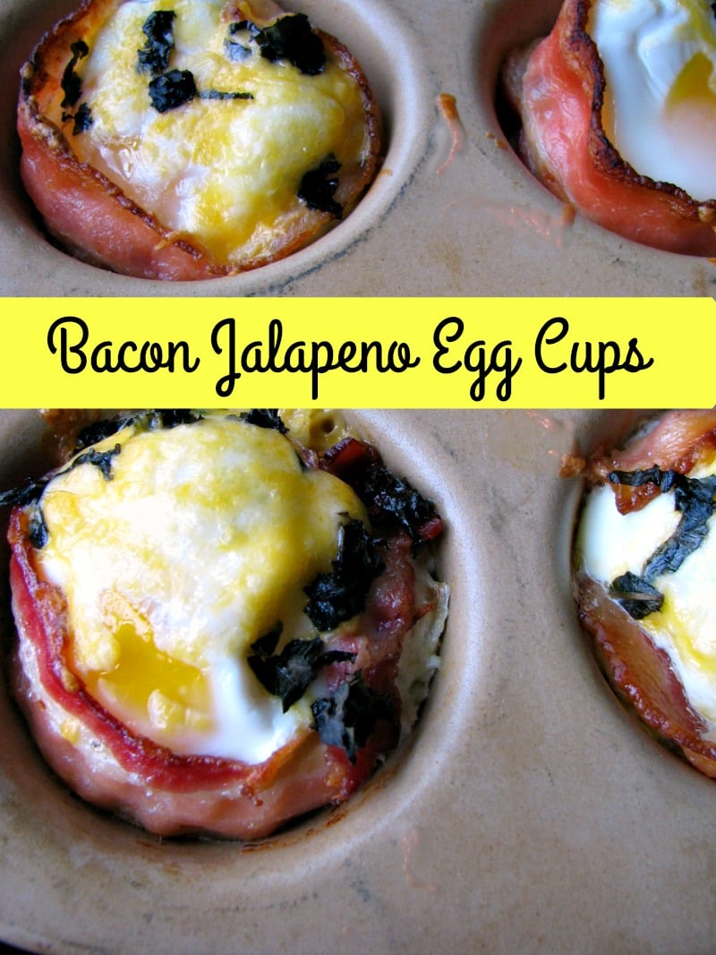 Sunny side up eggs in a bacon cup filled with diced jalapeno and shredded cheese, topped with more cheese and chopped basil, these Bacon Jalapeno Egg Cups are great for a weekend breakfast, or for a party brunch.