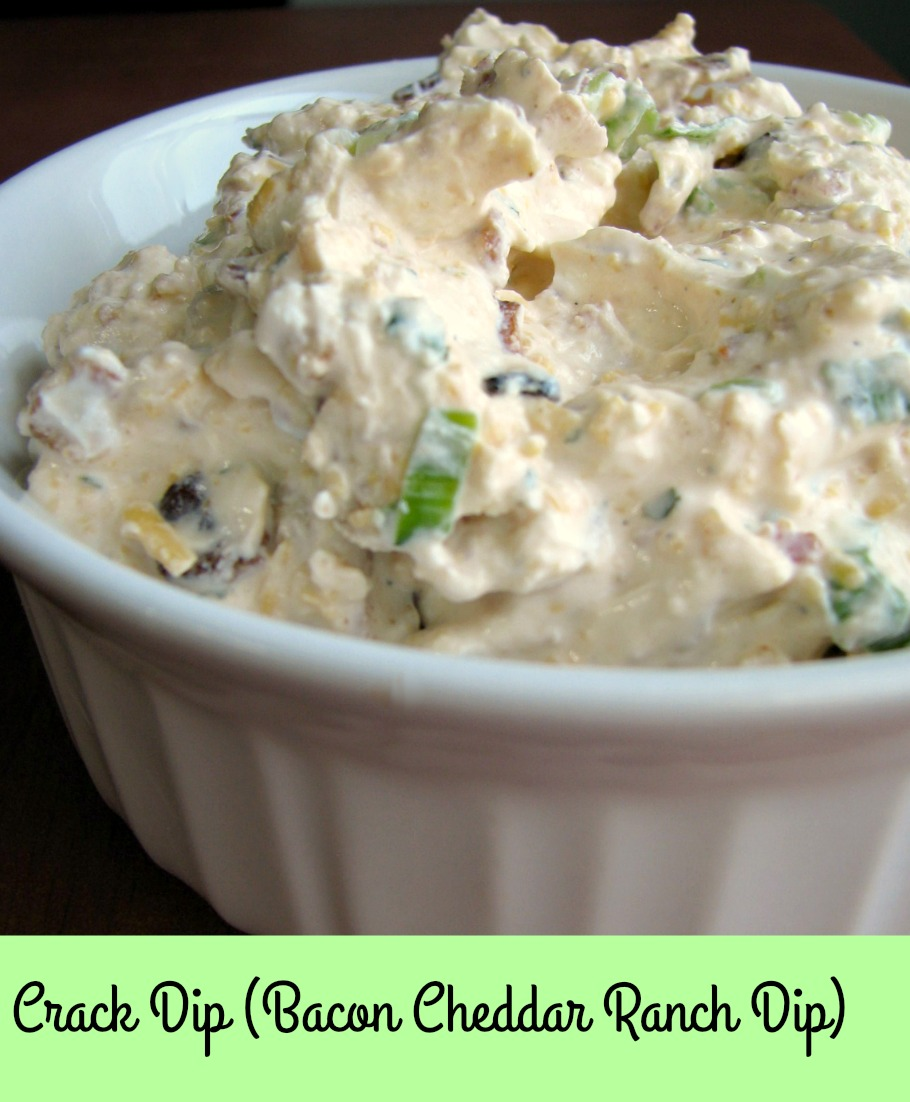 Crack Dip (Bacon Cheddar Ranch Dip), made with cream cheese, cheddar cheese, loads of bacon, scallions, and a hint of sriracha, is perfect for any party!