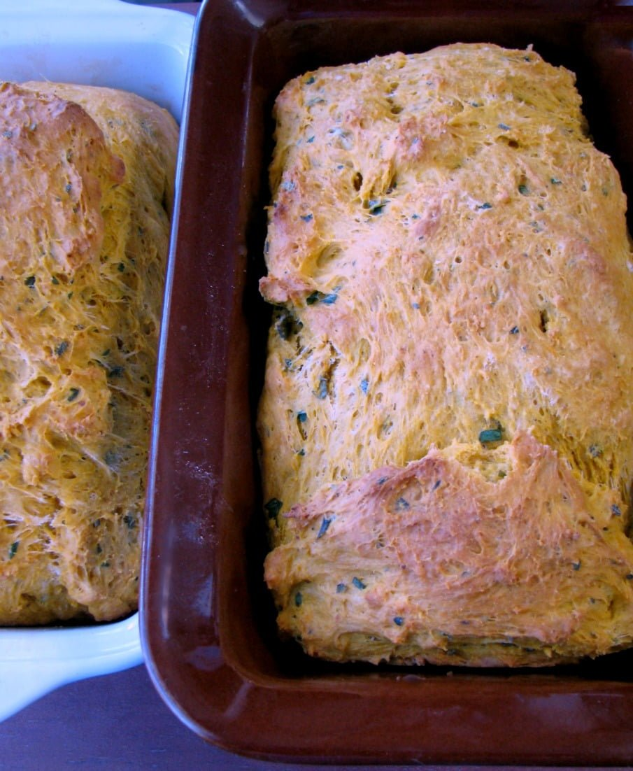 This Savory Pumpkin Bread is filled with pumpkin puree and fresh herbs.  It's perfect for stuffing, or serving in a basket for Thanksgiving dinner.