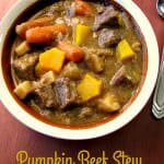 Loaded with fresh pumpkin pieces that dissolve and thicken the broth, beef, parsnips, and carrots, this Pumpkin Beef Stew is perfect for cold Fall evenings.