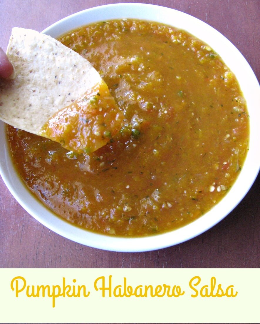 Spicy Pumpkin Habanero Salsa, with diced fresh pumpkin, tomatoes, tomatillos, onions, habanero and jalapeno peppers, is a seasonal treat perfect for parties.