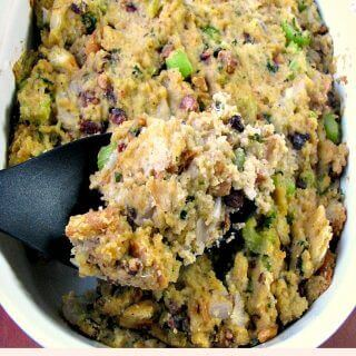 Made with a mixture of crumbled cornbread and day-old white bread with toasted chopped pecans and walnuts, this Cornbread Pecan Walnut Stuffing is perfect for Thanksgiving!