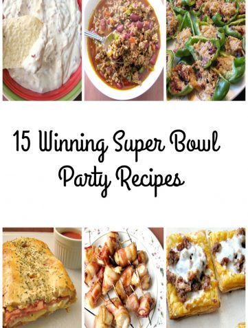 Collage photo of super bowl party food recipes with text